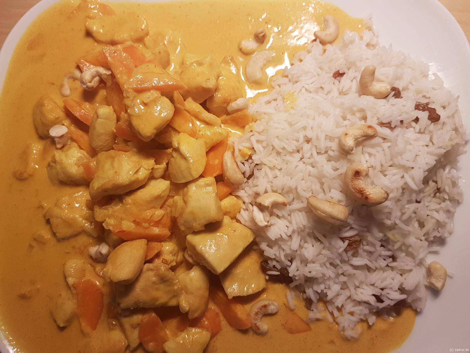 Chicken Korma mit Reis